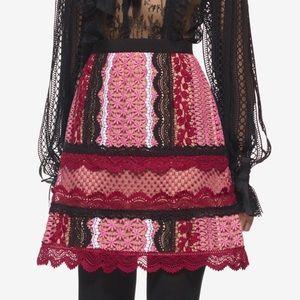 SELF PORTRAIT Bellis Pink Lace Trim A-Line Skirt